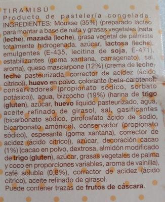 Tiramisú - Ingredients