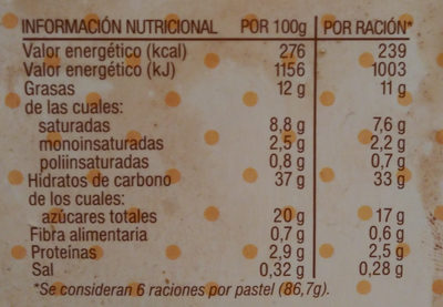Tiramisú - Información nutricional