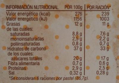 Tiramisú - Informació nutricional