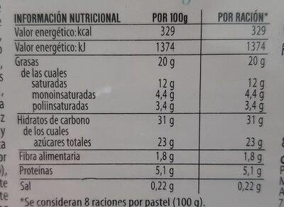 Pastel bombón crujiente - Informations nutritionnelles - es