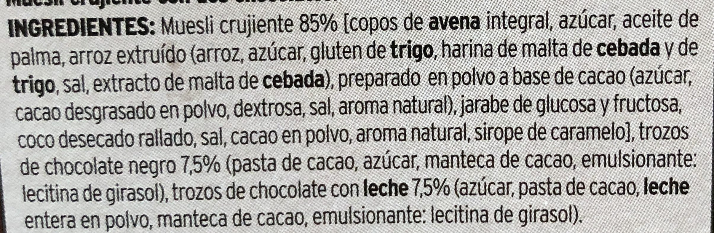 Muesli crunch dos chocolates - Ingredients