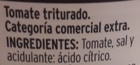 Tomate triturado - Ingredientes - es