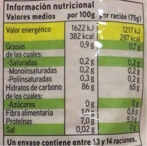 Arroz redondo - Información nutricional - es