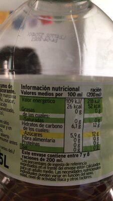 Refresco de manzana sin gas - Información nutricional - es