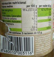 Pimientos rojos enteros al natural - Informations nutritionnelles - es