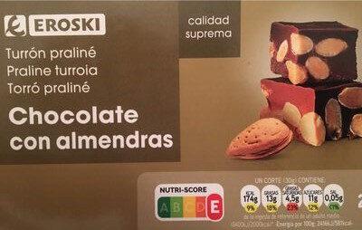 Turrón praliné chocolate con almendras