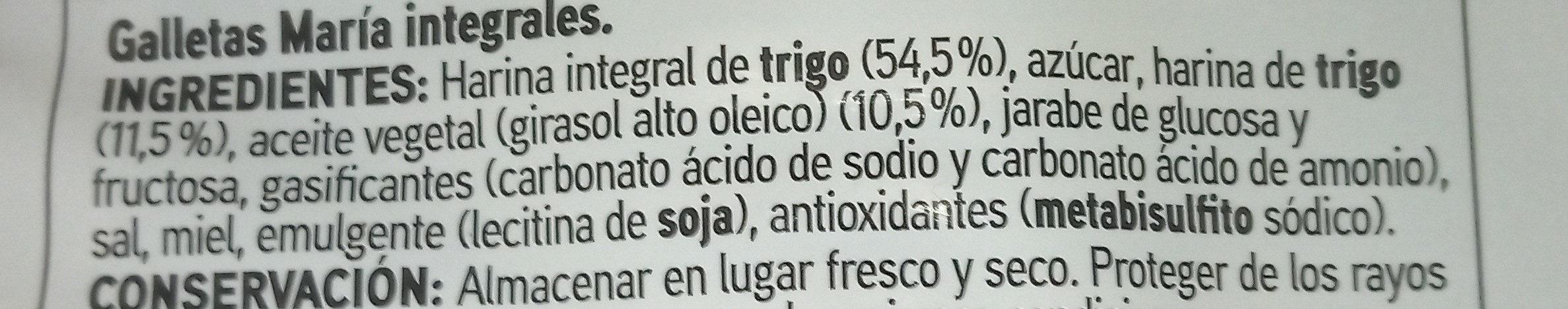 Galleta integral - Ingrediënten - es