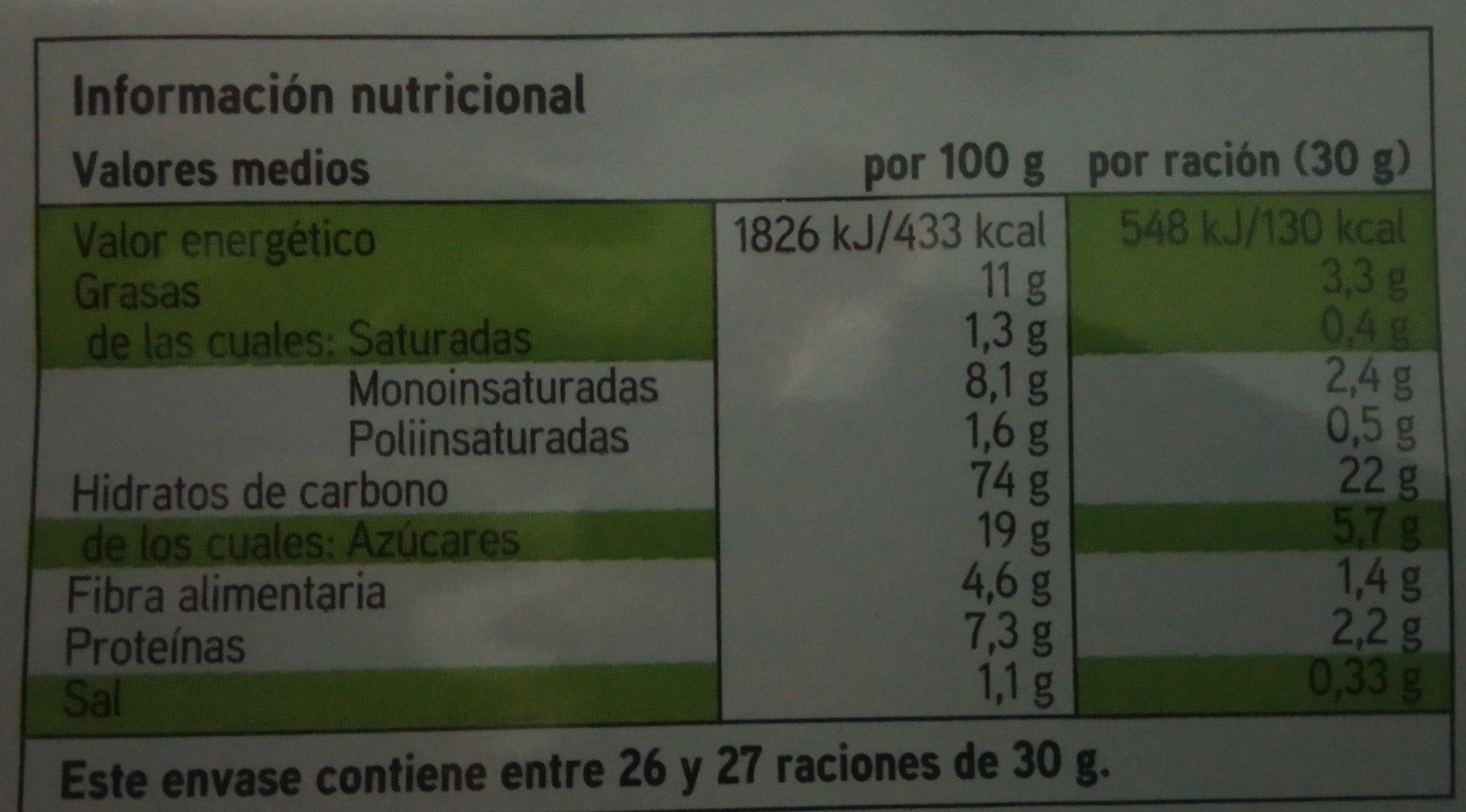Galleta integral - Voedingswaarden - es