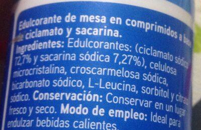 Edulcorante en comprimidos - Ingrédients - es