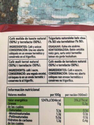 Café Molido - Ingrediënten - es
