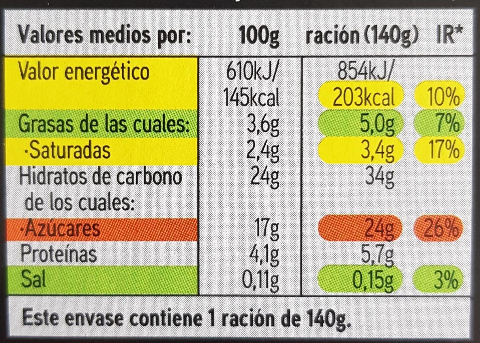 Arroz con leche - Información nutricional - es