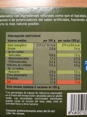 Pimientos rellenos de bacalao y gambas - Información nutricional