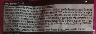 Croissant relleno de crema de cacao y avellanas - Ingrediënten