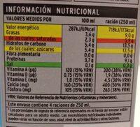Leche entera con calcio - Nutrition facts