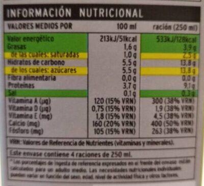 Leche semidesnatada - Informació nutricional
