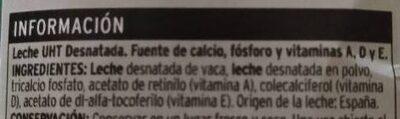 Leche desnatada calcio - Ingredients