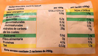 Arroz tres delicias con marisco - Informations nutritionnelles - es