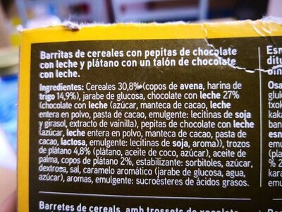 Barritas de cereales: plátano y chocolate con leche - Ingredientes - es