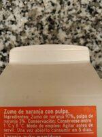 Zumo de naranja exprimido - Ingrediënten - es