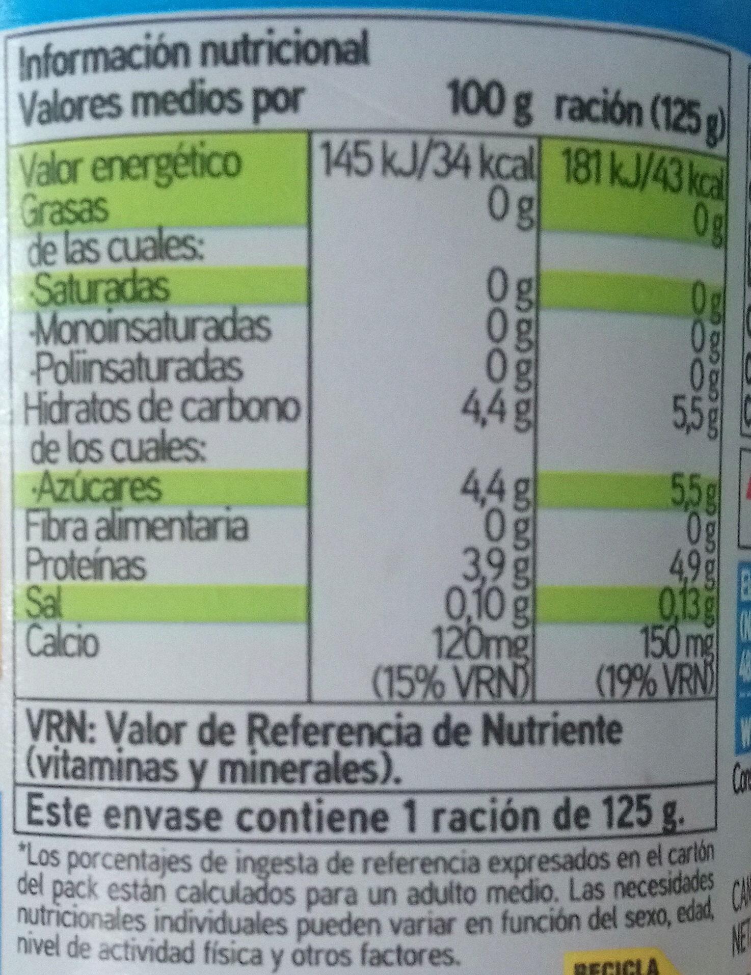 Yogur sabor limón - Información nutricional - es
