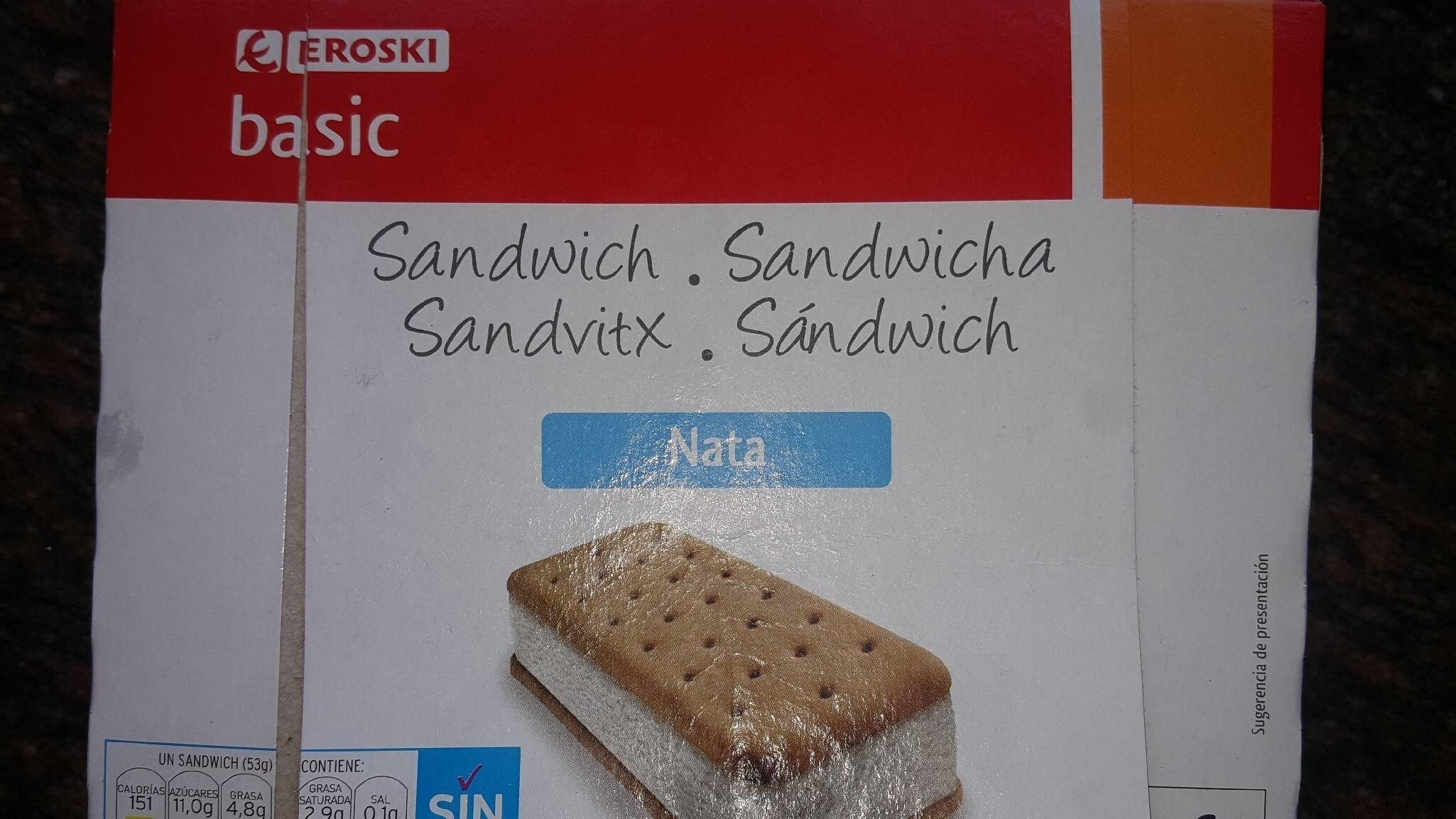 Sandwich nata - Producte