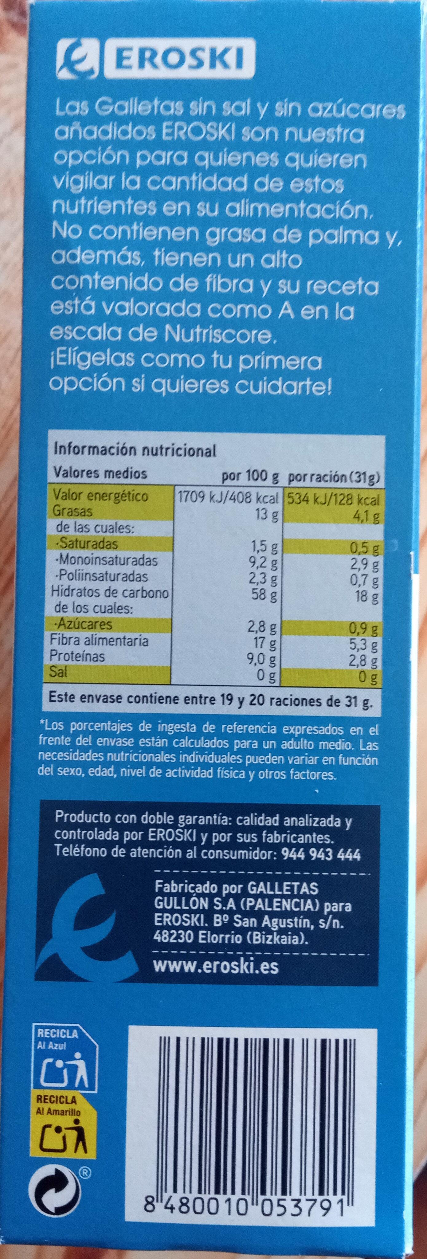 galletas Eroski sin sal y sin azúcares añadidos - Producto - es