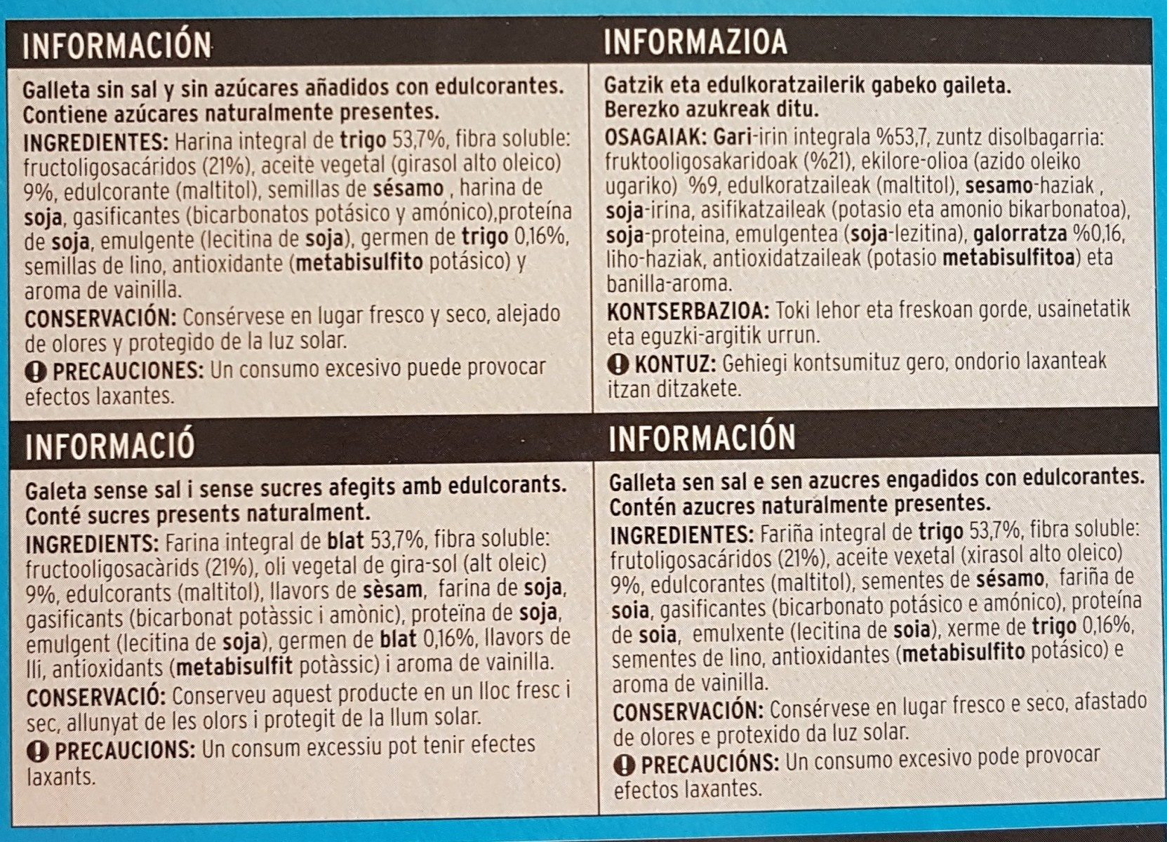 Sannia - Galletas integrales - Ingrédients