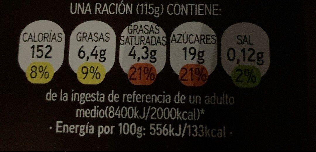 Copa chocolate y nata - Informació nutricional - es