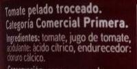 Tomate pelado troceado en su jugo - Ingredientes - es