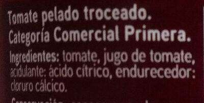 Tomate pelado troceado en su jugo - Ingrédients