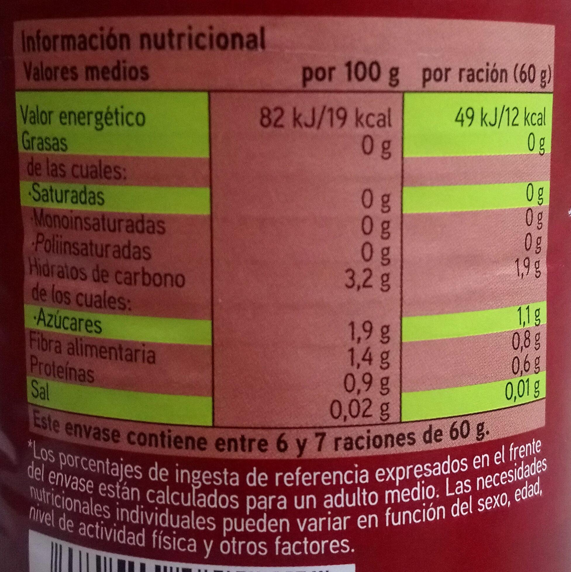 Tomate pelado troceado en su jugo - Información nutricional - es