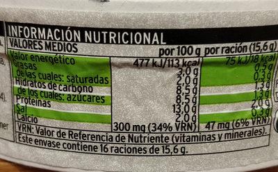 Queso light - Informació nutricional