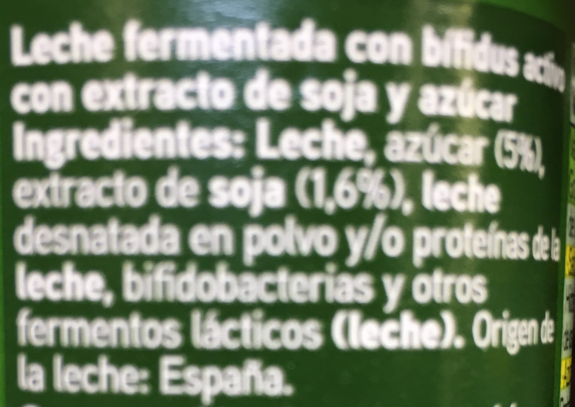 Yogur biactive con soja - Ingredients - es