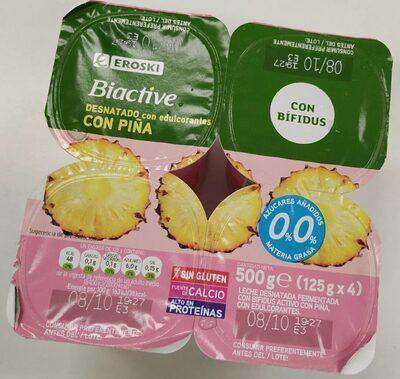 Yogur bio active desnatado con piña - Produit