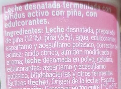 Yogur bio active desnatado con piña - Ingredientes - es