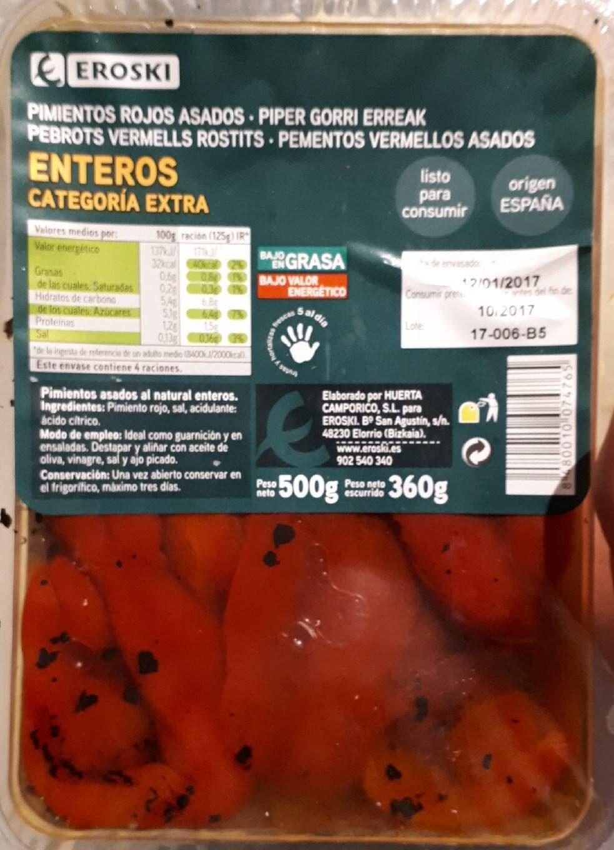 Pimientos rojos asados enteros - Produit - es