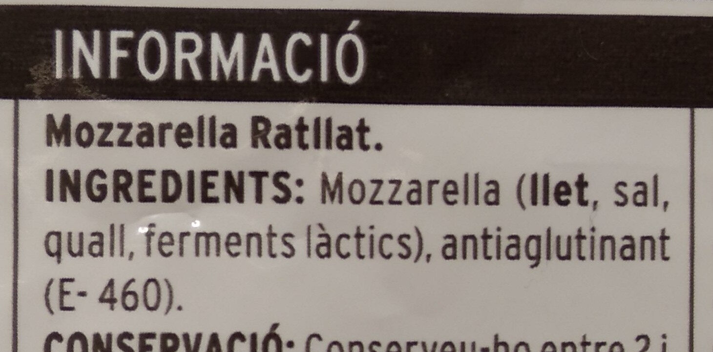 Queso rallado Mozzarella - Ingredients