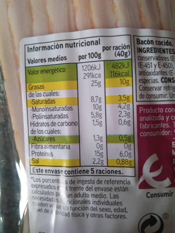 Bacon ahumado - Voedigswaarden
