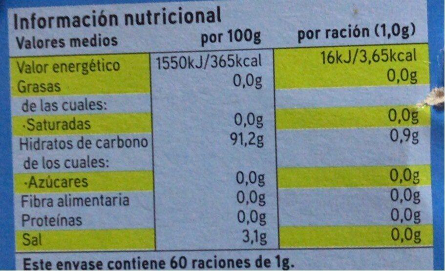 Edulcorante en polvo - Información nutricional - es