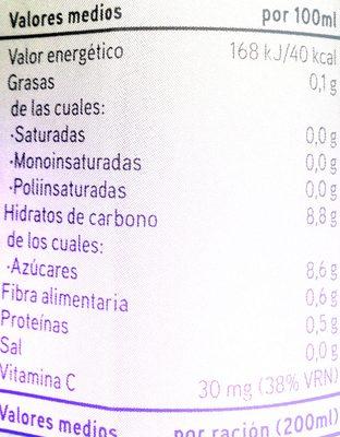 Zumo de naranja de valencia - Información nutricional