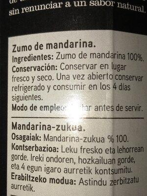 Seleqtia - Zumo de mandarina - Ingrediënten - es