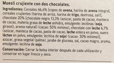 Seleqtia - Muesli con chocolate negro y chocolate con leche - Ingrediënten - es