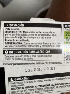 Paté de atún 45% - Ingredientes