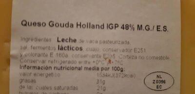 Queso gouda tierno - Ingredients