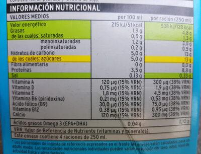 Bebida láctea UHT - Informació nutricional - es