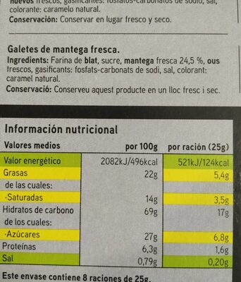 Galletas Bretonas - Nutrition facts