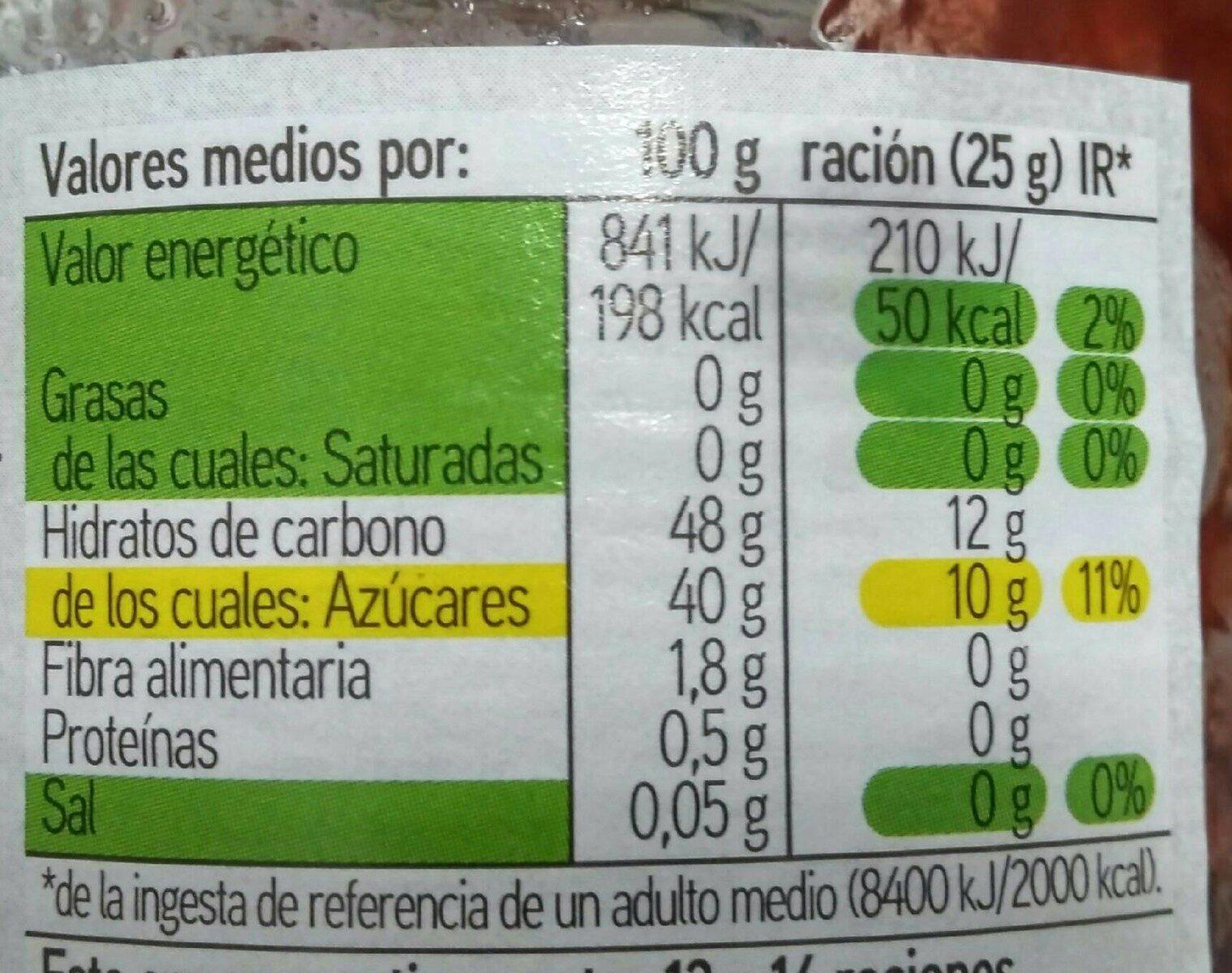 Mermelada de frambuesa - Voedingswaarden - es