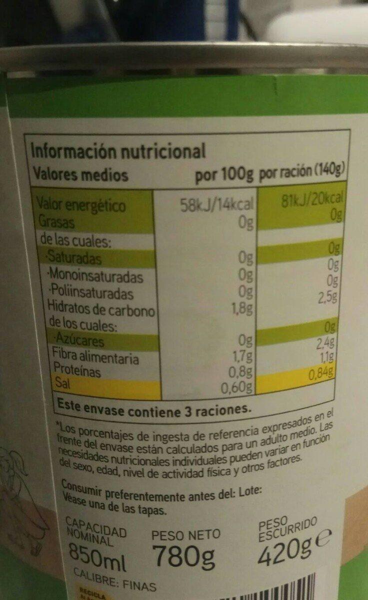 Judías verdes redondas troceadas - Informació nutricional - es