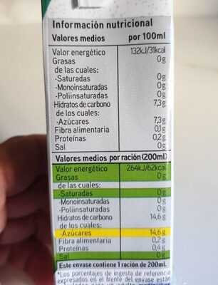 Zumo piña manzana uva - Nutrition facts