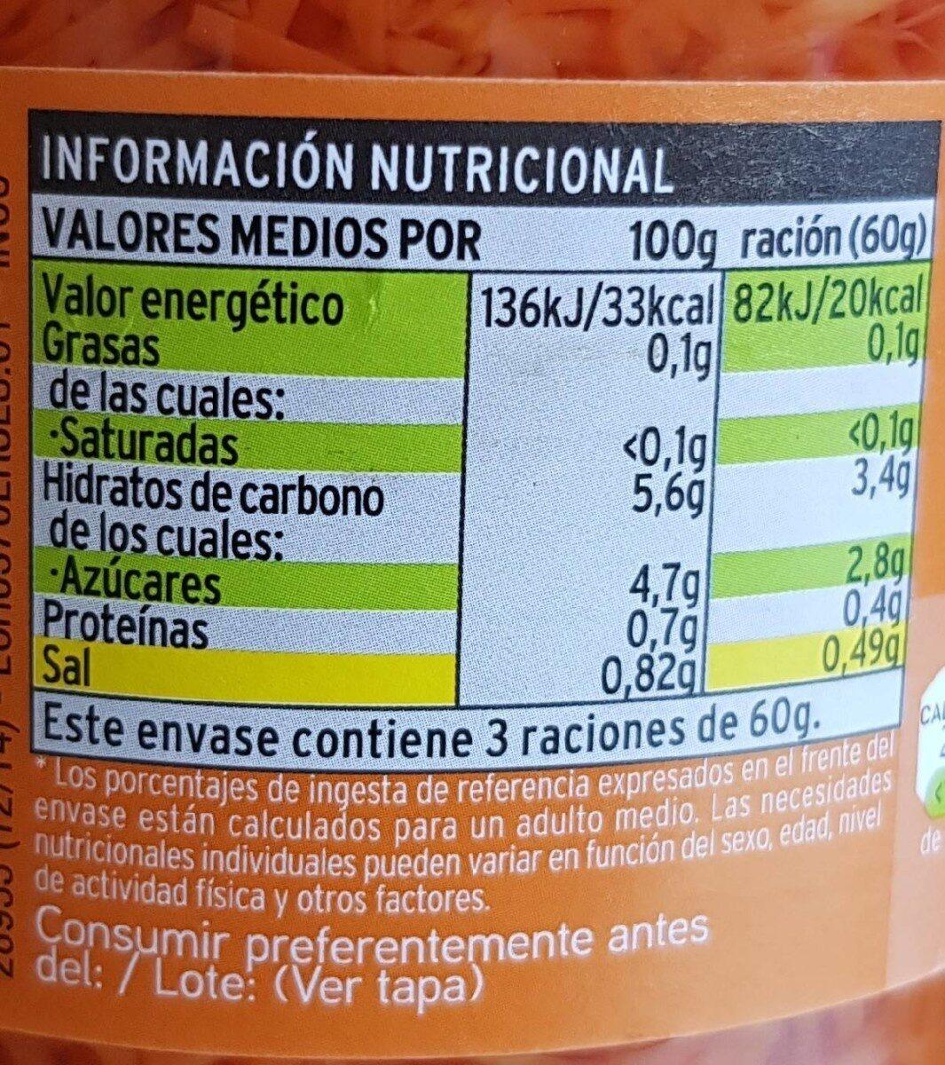 Zanahoria rallada - Informations nutritionnelles - es